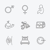 Fertilization, pregnancy and pediatrics icons.
