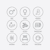 Fertilization, pregnancy and pediatrics icons.