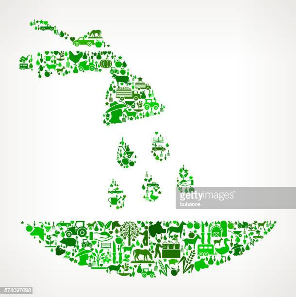 Fertilizer Farming and Agriculture Green Icon Pattern
