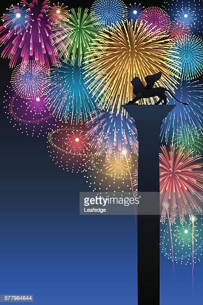 festa del redentore[fireworks] - venice italy stock illustrations, clip art, cartoons, & icons