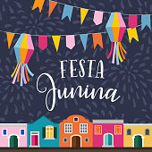 Festa junina, Brazilian june party. Latin American holiday. Vector illustration background with garland of flags, lanterns, colorful houses and fireworks. Flat design.