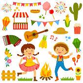 Festa Junina cartoons set