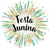 Festa Junina colorful summer calligraphic poster, illustration. Vector firework carnaval background with stars.