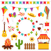 Festa Junina festival decorative elements. Carnival flags with lantern, firework and flying kite