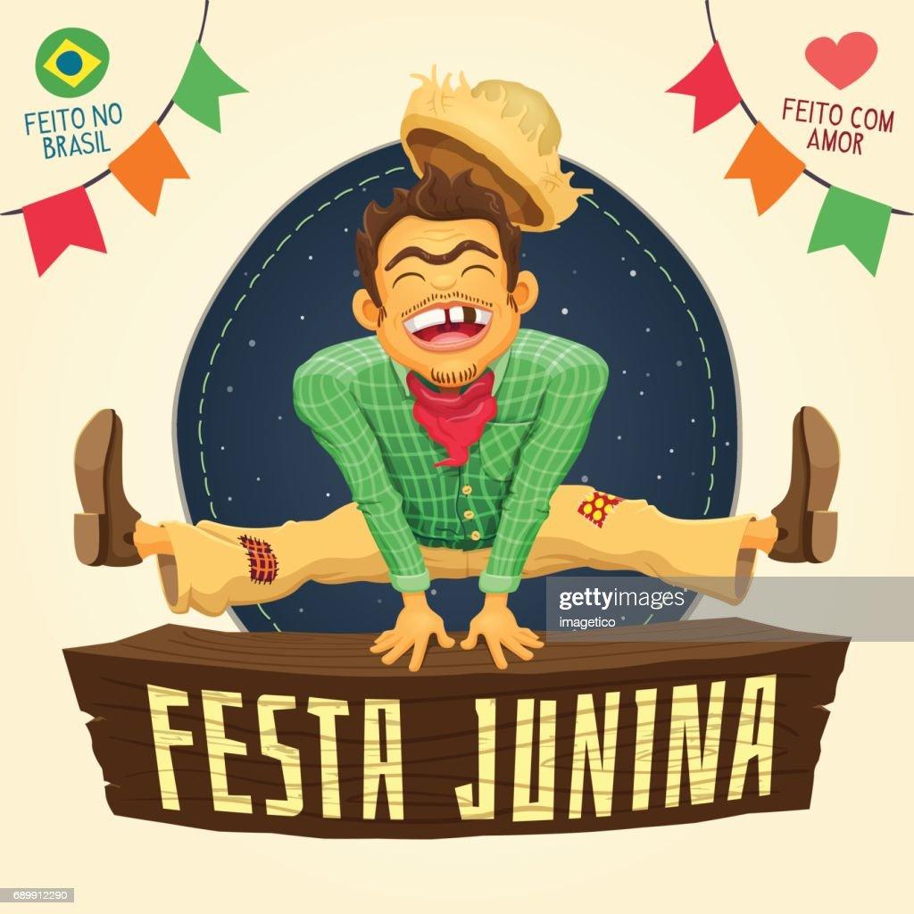 Festa Junina (Brazilian June Party) - Happy peasant jumping over sign