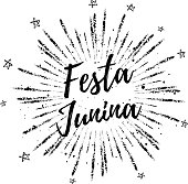 Festa Junina summer calligraphic poster, illustration. Vector firework carnaval background with stars.