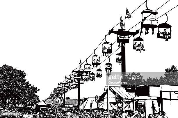 festival crowd and chairlift ride - steel cable stock illustrations, clip art, cartoons, & icons