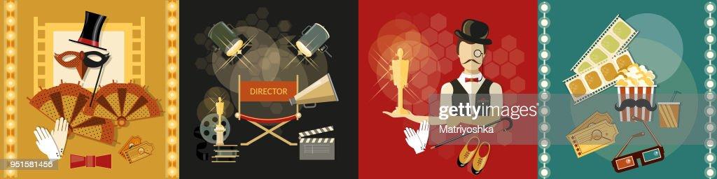 Festival movie theater shooting film premiere retro vector set