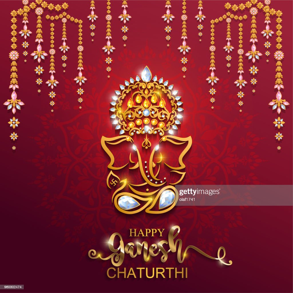 Festival of Ganesh Chaturthi with golden shiny Lord Ganesha patterned and crystals on paper color Background.