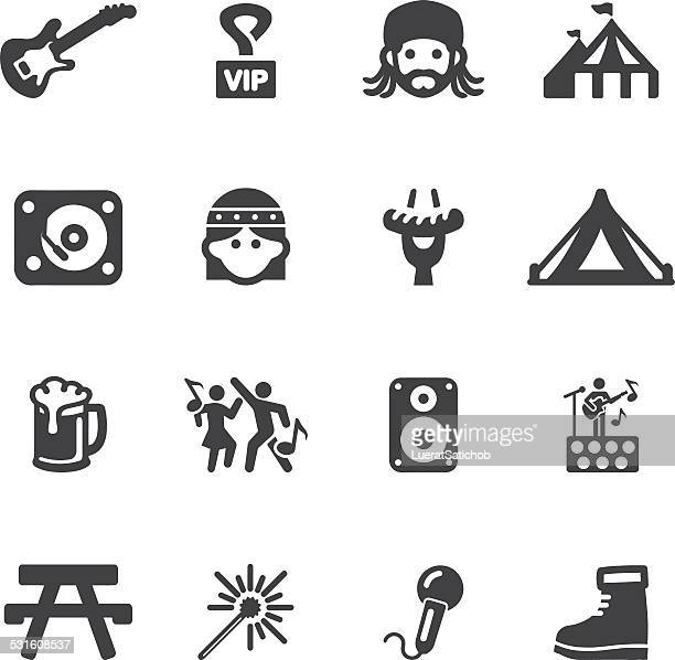 festival silhouette icons | eps10 - 2015 stock illustrations