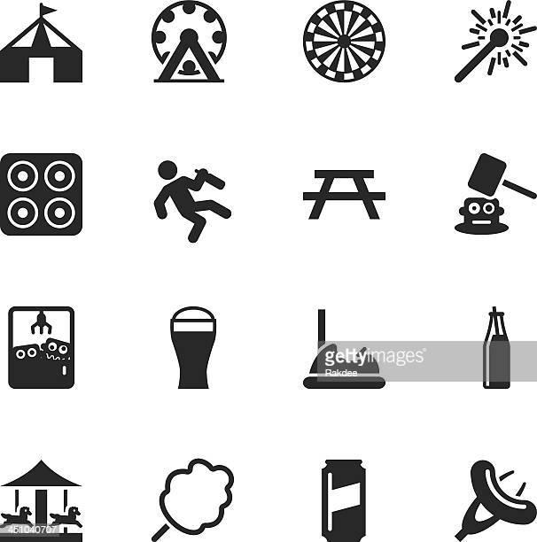 ilustraciones, imágenes clip art, dibujos animados e iconos de stock de festival silueta de iconos - caballitos del tiovivo