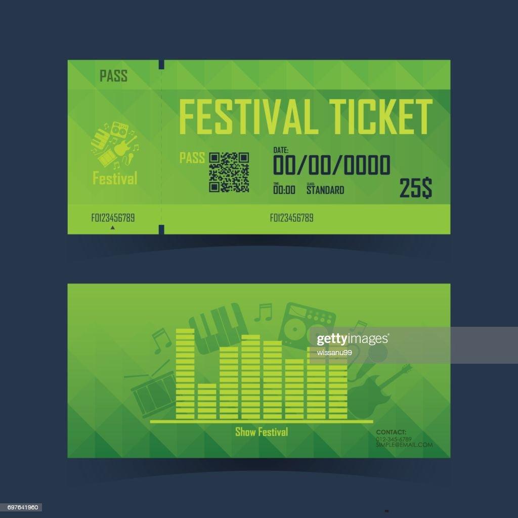 Festival ticket Card. Element template for design. Vector illustration.