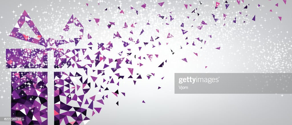 Festive background with purple gift.