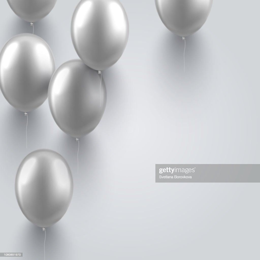 Festive background with realistic silver colored 3d balloons.