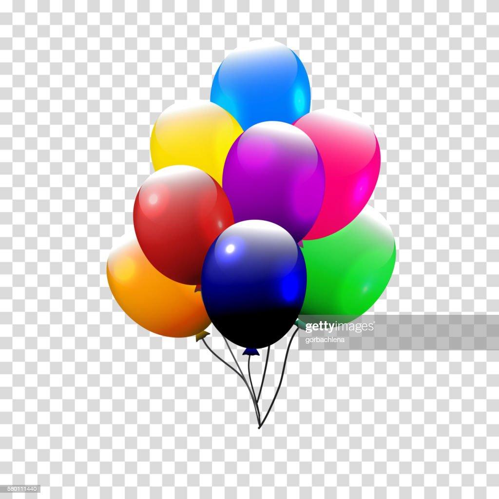 Festive Balloons real transparency. Vector illustration. 3d illustrator.