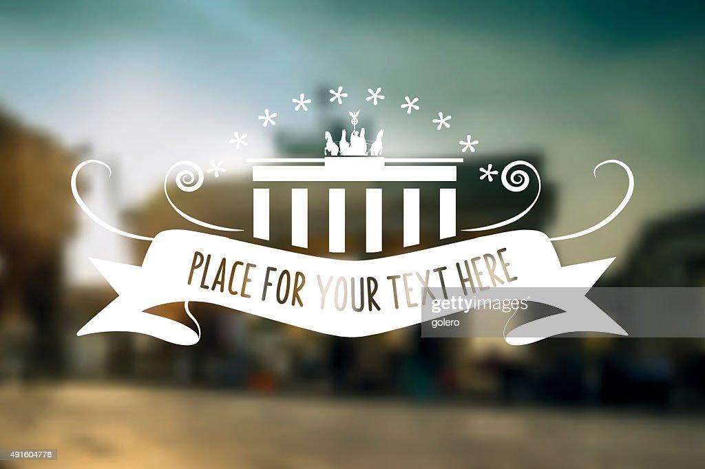 festive berlin symbol on blurred Brandenburger Tor background