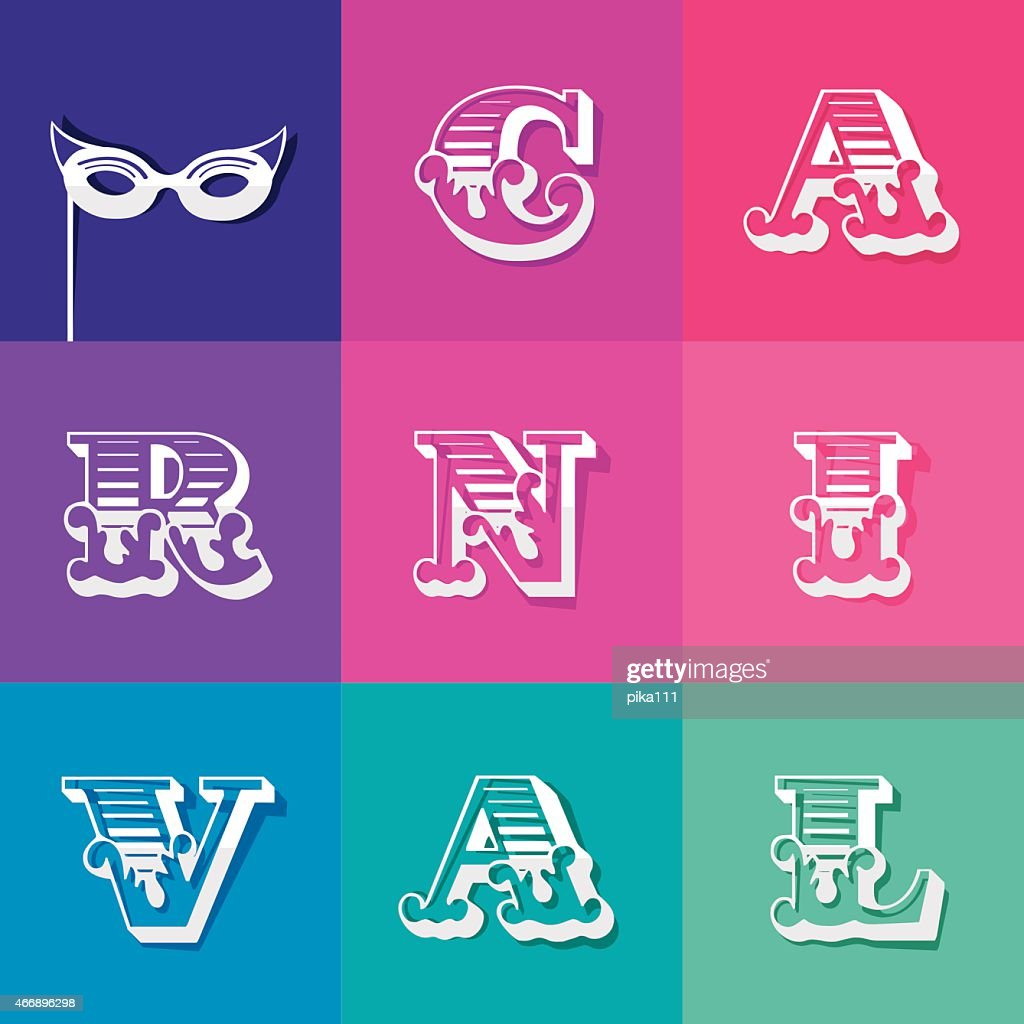 Festive Colorful Carnival Word With Ornamented Letters Vector Art ...