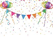 Festive colorful flags and balloons Vector