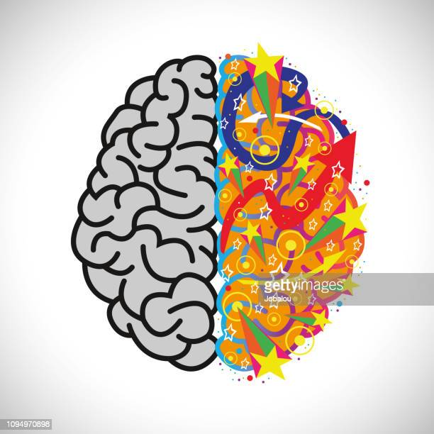 ilustraciones, imágenes clip art, dibujos animados e iconos de stock de fiesta creativa derecha del cerebro - cerebro humano