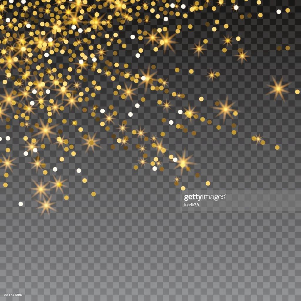 Festive explosion of confetti. Gold glitter background for the card, invitation. Holiday Decorative element