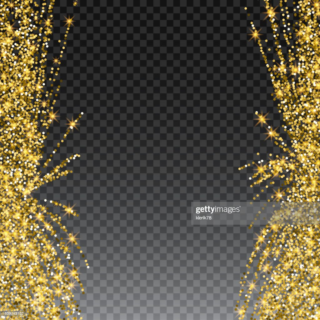 Festive explosion of confetti. Gold glitter background for the card, invitation. Holiday Decorative element. Illustration of falling shiny particles and stars isolated on checkered background