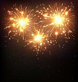 Festive Firework Salute Burst on Black