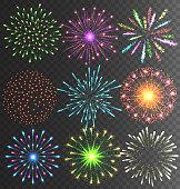 Festive Firework Salute Burst on Transparent