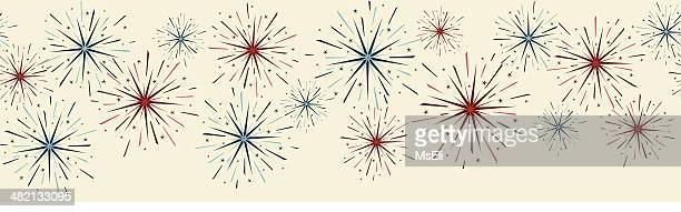 festive fireworks border - sparks stock illustrations, clip art, cartoons, & icons