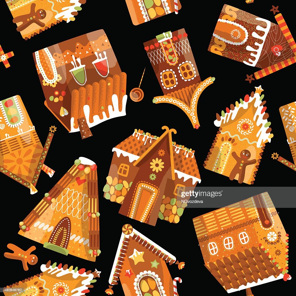 Festive gingerbread houses. Christmas tradition. Seamless background pattern.
