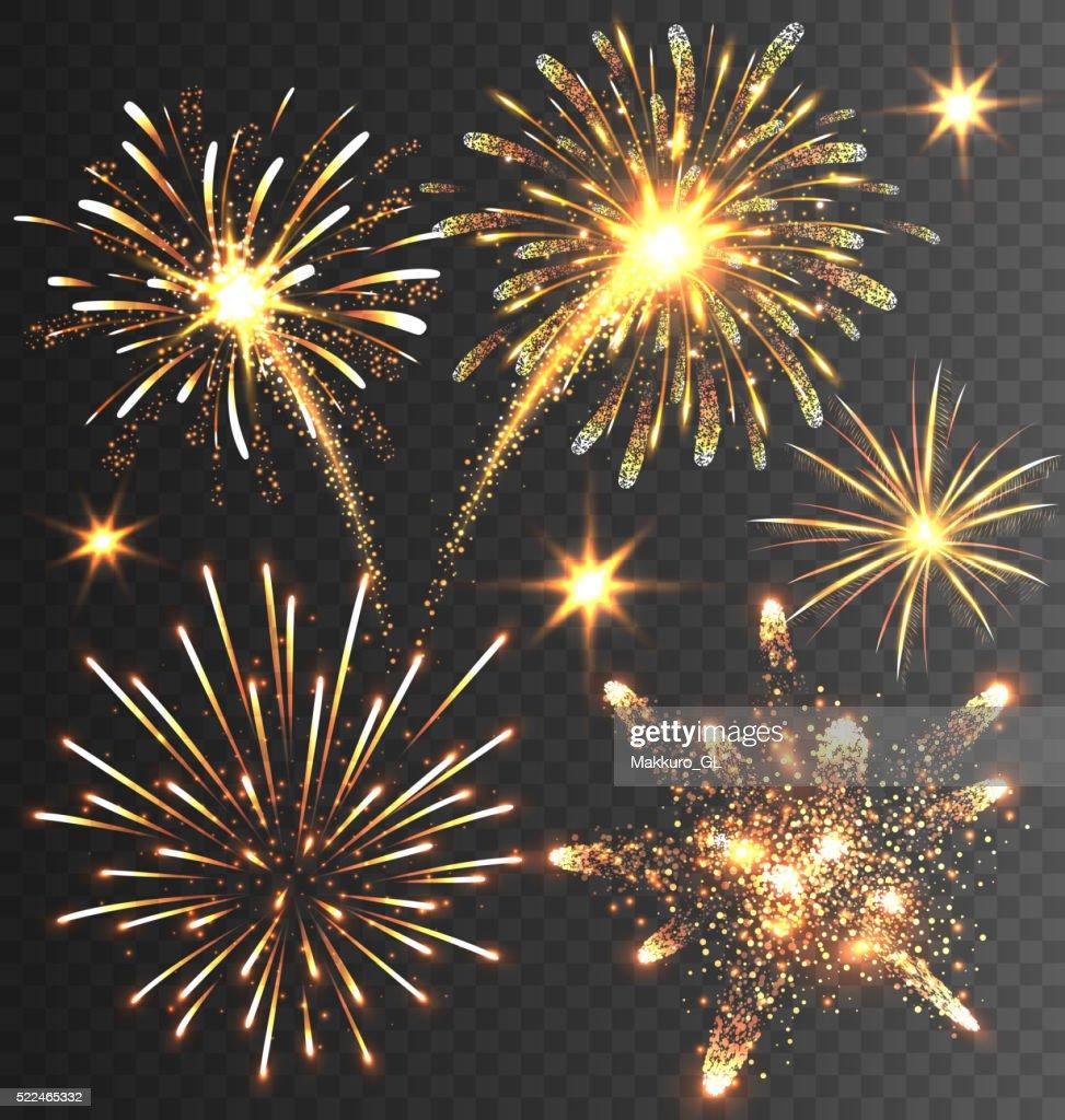 Festive Golden Firework Salute Burst on Black