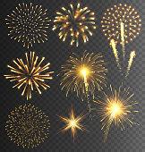 Festive Golden Firework Salute Burst on Transparent