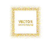Festive golden sparkle background. Glitter border, spotted rectangle frame. Vector golden dust isolated on white.