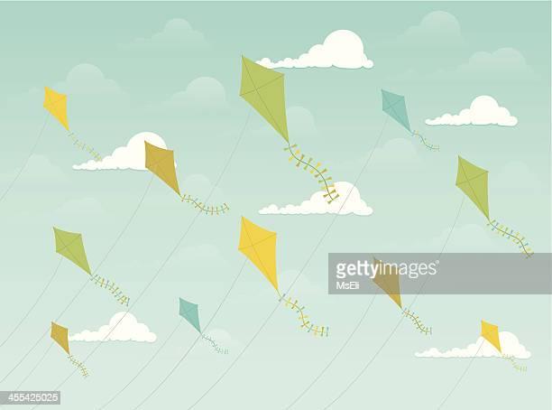 festive kites flying - kite toy stock illustrations, clip art, cartoons, & icons