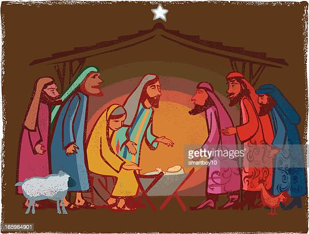 festive nativity scene - jesus stock illustrations, clip art, cartoons, & icons