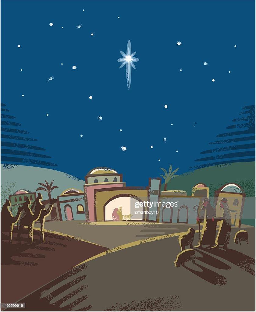 Festive Nativity scene : stock illustration