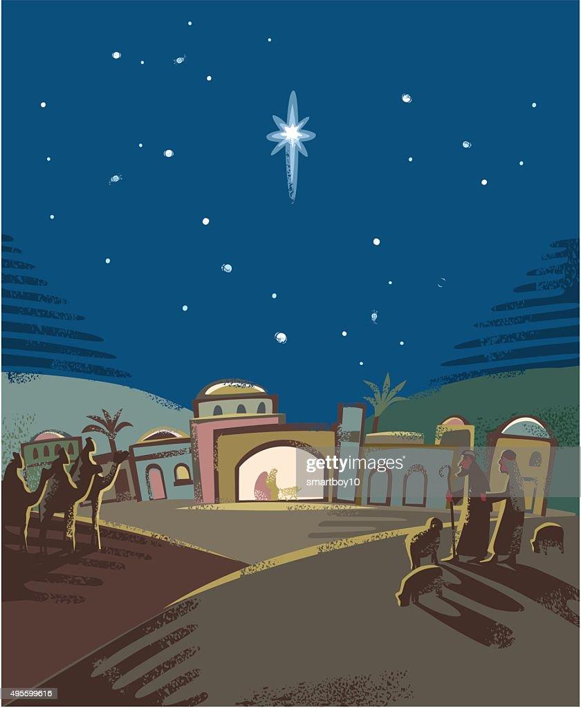 Festive Nativity scene