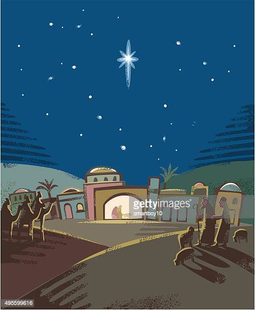 festive nativity scene - nativity scene stock illustrations