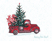Festive New Year 2018 card. Red truck with fir tree decorated red balls White snowy seamless background