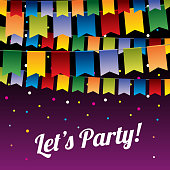 Festive party vector background with hanging bunting flags