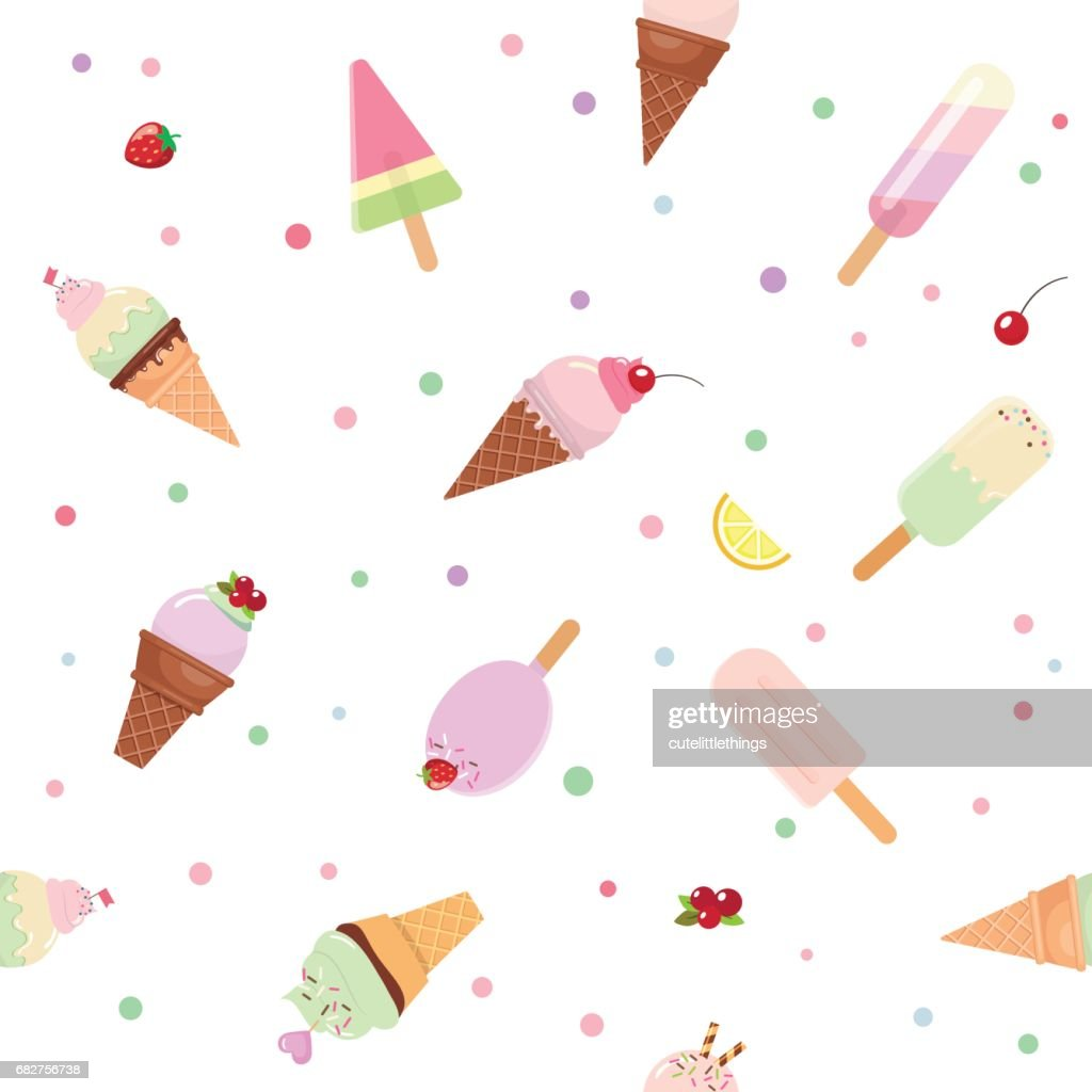 Festive Seamless Pattern Background With Paper Cutout Ice Cream