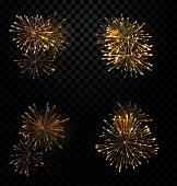 Festive Set Fireworks Salute on Transparent Background