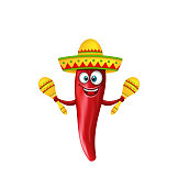 Festive Smiling Chili Pepper with Maracas