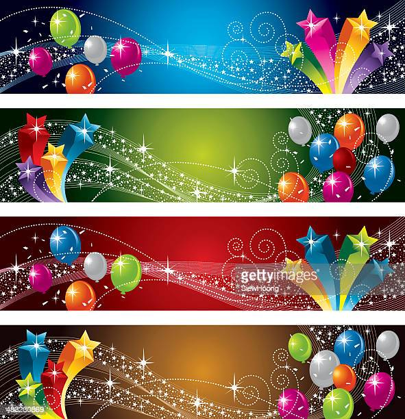 festive star and balloon - carnival celebration event stock illustrations, clip art, cartoons, & icons
