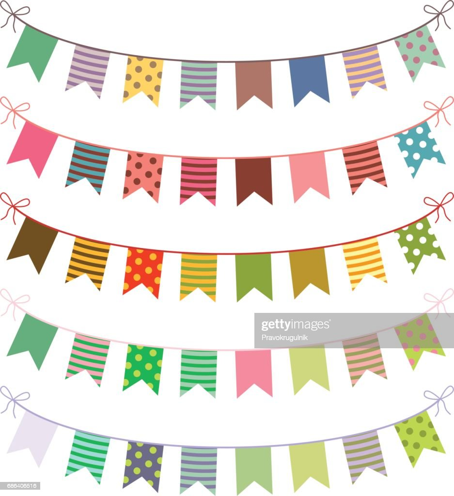 Festive vector buntings with colorful flags