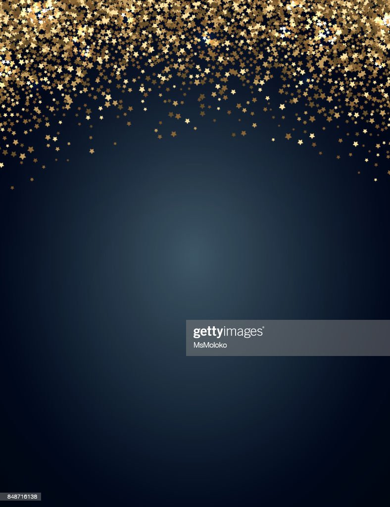 Festive vertical Christmas and New Year background with gold glitter of stars. Vector illustration