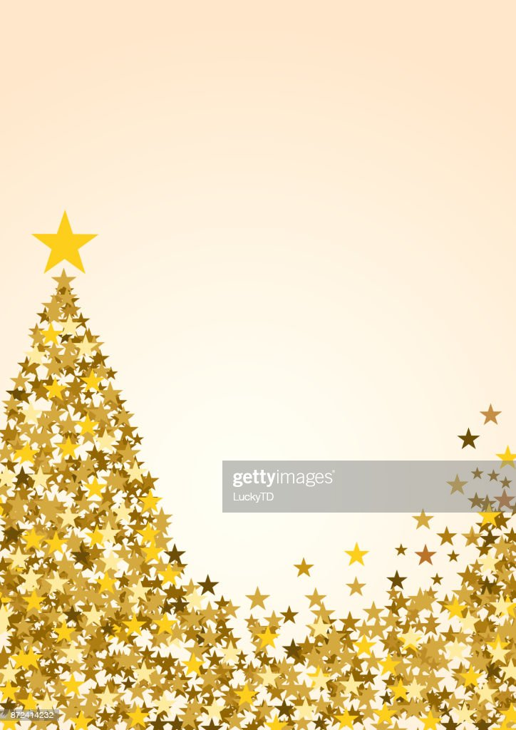 Festive Vertical Christmas Background With Copy Space Golden Stars And Tree On White Vector