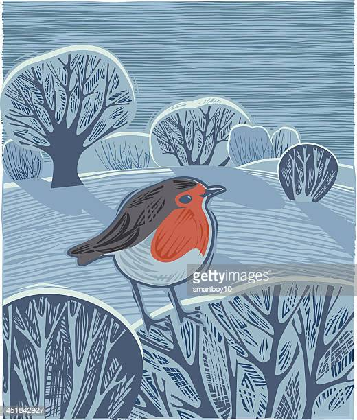 festive winter landscape - woodcut stock illustrations