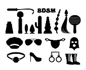 fetish sign. Sex icons for BDSM. Sextoys for xxx.