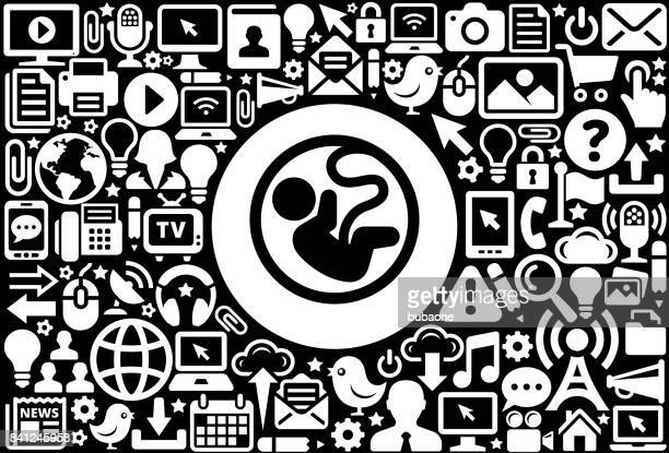 fetus  icon black and white internet technology background - animal fetus stock illustrations, clip art, cartoons, & icons
