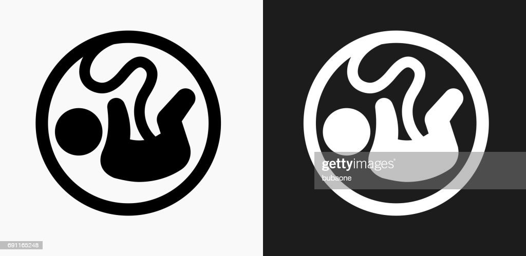 Fetus Icon on Black and White Vector Backgrounds